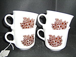 Vintage Corelle Batik Set Of 4 Coffee Cups