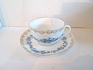 Kpm China Blue Floral Cup & Saucer Set,