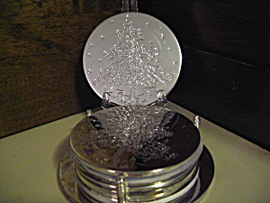 Silver Plated Christmas Coaster Set