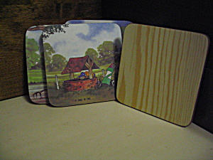 Set Of Four Comical Golf Cartoon Coasters By Garner