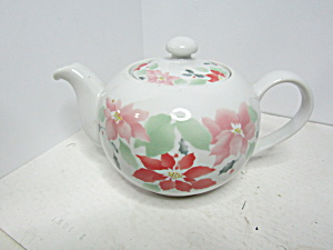 Corning Poinsettia Pattern Porcelain Teapot
