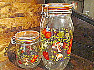 Vintage Veggie Glass Jar Canister Set Made In France
