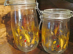 Vintage Wheat Glass Jar Canisters Set