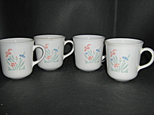 Corelle Stencil Garden Set Of 4 Coffee Cups