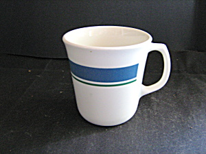 Corelle Coffee Cup Jennie Wide Blue Thin Green Band