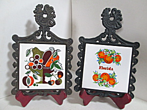 Cast Iron/ceramic Rooster Fruit Wall Hanging Trivets
