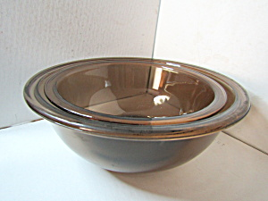 Vintage Corning Pyrex Amber Mixing Bowl Set