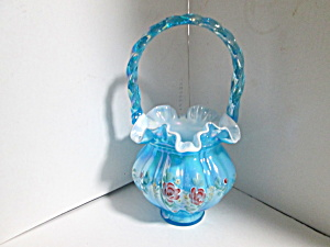 Vintage Fenton Misty Blue Melon Basket