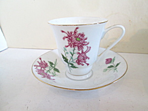 Floral Dragon Flower Design Small Cup & Saucer Set