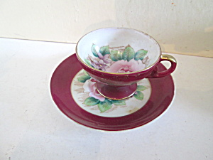 Shafford Floral Rose Design Demitasse Cup & Saucer Set