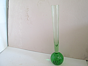 Vintage Green Bud Vase Paper Weight Bubble Bottom