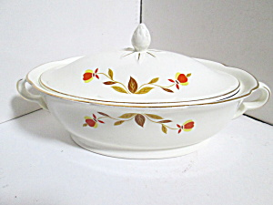 Vintage Jewel Tea Autumn Leaf Covered Vegetable Bowl