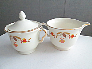 Vintage Hall Jewel Tea Autumn Leaf Sugar & Creamer Set