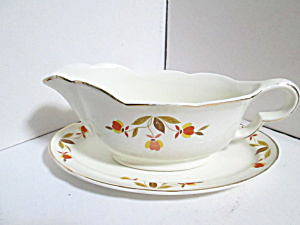Vintage Jewel Tea Autumn Leaf Gravy Boat & Underplate