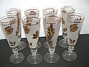 Vintage Libbey Golden Foliage Pilsner/iced Teaglass Set