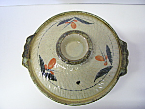 Vintage Oriental Pottery Japanese Floral Cooking Pot