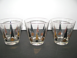 Vintage Libbey Black & Gold Diamond Cocktail Glasses