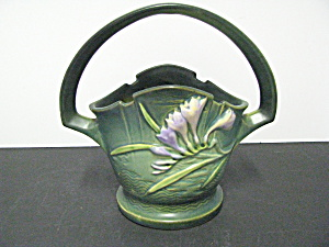 Vintage Roseville Pottery Freesia Green Basket