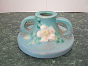 Vintage Roseville White Rose Blue Azure Candle Holder