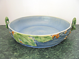 Vintage Roseville Blue Bushberry Handled Bowl