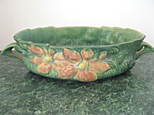 Elegant Roseville Forest Green Clematis Console Bowl