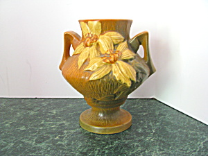 Elegant Vintage Roseville Brown Clematis Footed Vase