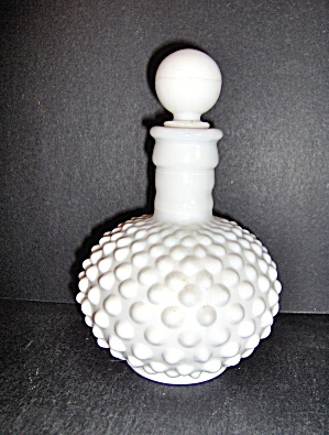 Milk Glass Hobnail Vanity Perfume Bottle By Fenton