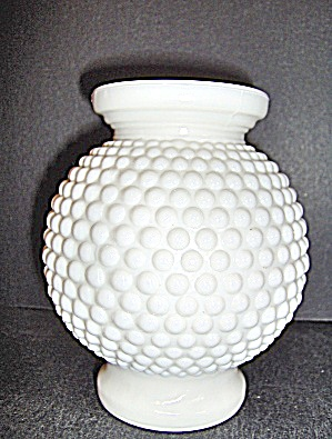 Fenton Milk Glass Hobnail Rose Bowl