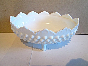 Vintage Hobnail Oval Candy Milk Glass Dish