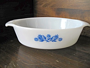 Vintage Fire King Cornflower Oval 1.5 Quart Casserole