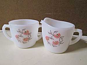 Fire King Fleurette Open Sugar And Creamer Set