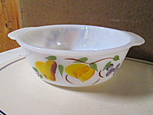 Vintage Fire King Gay Fad Fruit 8.25 In. Casserole