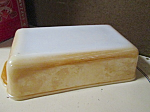 Fire King Peach Lusterware Loaf Pan