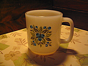 Vintage Blueberry Glasbake Heavy Coffee Mug
