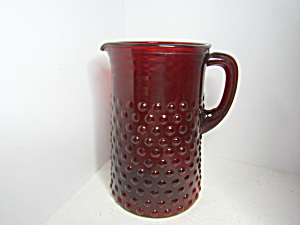 Vintage Anchor Hocking Ruby Red Hobhail Water Pitcher
