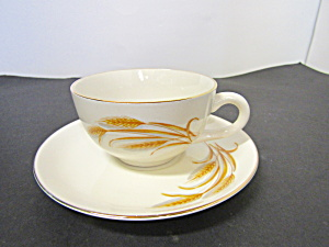 Homer Laughlin Golden Wheat Cup & Saucer Set Unmarked
