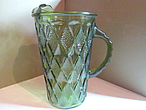 Vintage Avocado Glass Diamond Pattern Water Pitcher
