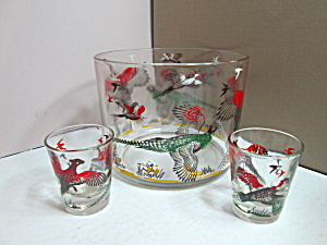 Vintage Hazel Atlas Pheasant Ice Bucket Set