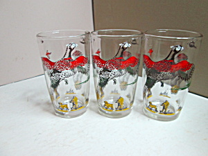 Vintage Hazel Atlas Pheasant Juice Size Glass Set