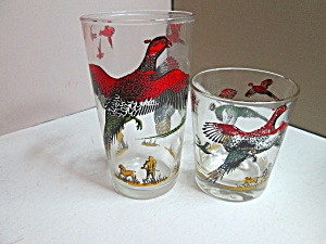 Vintage Hazel Atlas Pheasant Two Beverage Glass Set