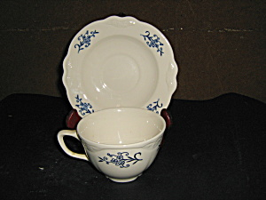 Homer Laughlin Imperial Blue Cup & Sauser Set