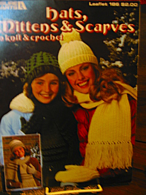 Leisure Arts Hats,mittens & Scarves Knit & Crochet #186