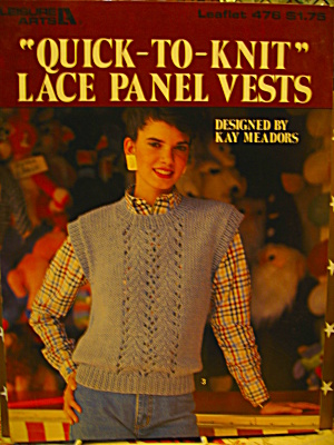 Leisure Arts Quick-to-knit Lace Panel Vests #476