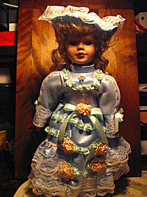 Porcelian Collectible Powder Blue Doll