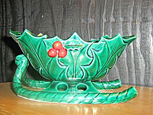 Lefton Green Holly Christmas Sleigh