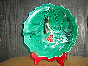 Lefton Green Holly Serving Tray With Metel Handle