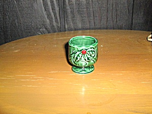 Lefton Green Holly Egg Cup