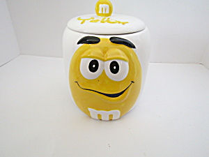 Vintage Yellow And White M&m Candy Jar