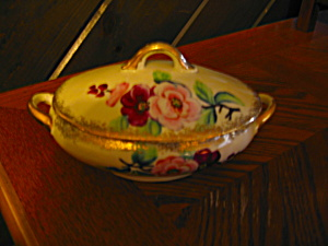 Flowered Covered Handpainted Trinket Dish