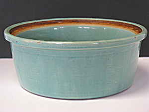 Vintage Usa Pottery Pale Green Casserole Bowl